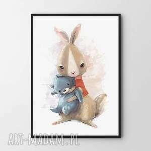 plakat obraz zając 40x50 cm, dla dziecka, pokój dziecięcy, zając, dziewczynka