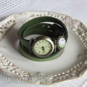 zegarek vintage z grafiką skórzany żywa zieleń, biżuteria, zegarek, bransoletka