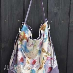 torba hobo xxl - print, kwiaty, hobo, płótno, alcantara, worek