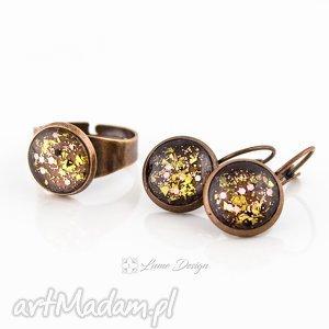 komplet golden glitter - kolczyki / pierścionek, regulowany