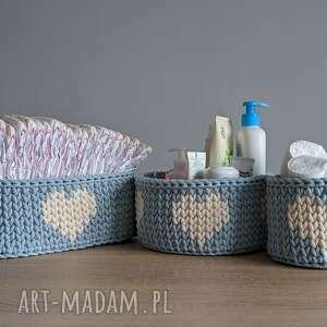 handmade pokoik dziecka organizer na przewijak - zestaw 3 koszyków