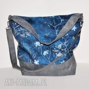 na ramię torba, worek xxl - print kwiat wiśni, print, worek, płótno