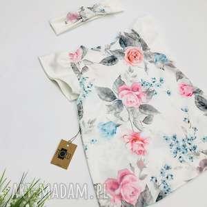 Pastelowa lekka sukienka Roses z opaską, kwiatuszki, opaska, roze, pastelowa