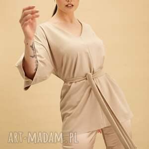 bluzki beżowa tunika kimono, bluzka, uniwersalna, klasyczna, kobieta