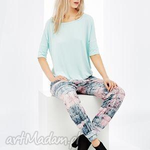 bluzki wygodna miętowa bluzka linda , bluzka, krótki, rękaw, wmarszony, dol, gumka