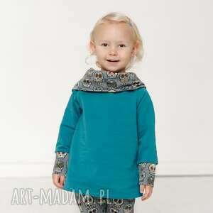 ręcznie zrobione bluza dla dziecka z komino-kapturem czachy etno szmaragd 80/86, 92/98