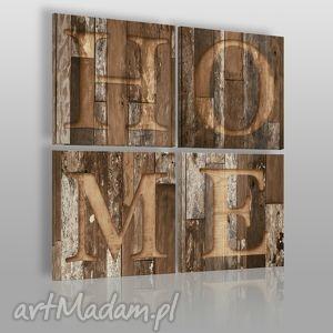 obraz na płótnie - napis home brąz 4x40x40 cm 00804, home, napis, drewno, deski