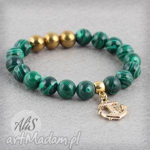 Ozłocony malachit - ,malachit,zielona,złota,kotwica,
