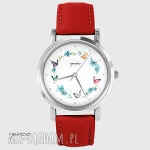 yenoo zegarek - kolorowy wianek czerwony, skórzany, zegarek, bransoletka