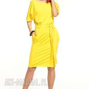 sukienki sukienka wiązana z dzianiny bawełnianej, t309, żółta
