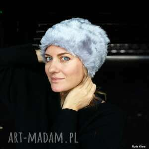 czapka futrzana damska szara handmade, futro, góry, zimowa ciepła etno