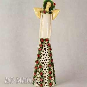 anioł z różyczkami lampion, ceramiczny, wykonany ręcznie