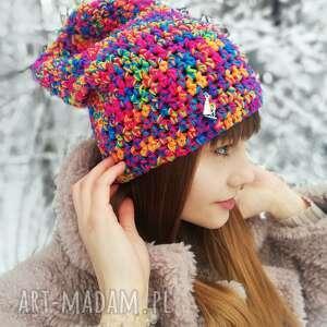 czapka smerfetka beanie, zimowa, wełniana, zimowa