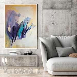 z turkusem 100x70, duży obraz abstrakcja, abstrakt, abstrakcja do salonu