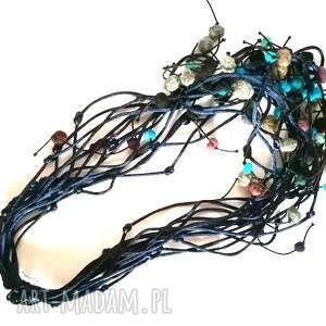 naszyjnik sznurkowy pleciona zamotka filc - naszyjnik, filc, sznurek, boho, etno, stylowy