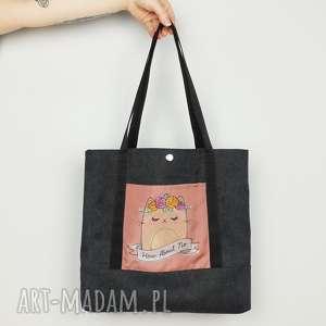 torebka na ramię z kotkiem, shopperka, torebka, haft, worek, kotek, kot