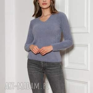 miękki, włochaty sweterek - swe147 szary, sweter, szary sweter na jesień