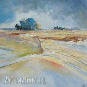 obraz na płótnie - pejzaż format 25/25 cm, pejzaż, zieleń, brąz, niebieski