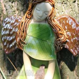 Buczynowy anioł z ptaszkiem, chrzest, prezent dla dziecka enio