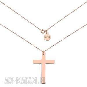 naszyjnik z różowego złota z dużym krzyżem - łańcuszek