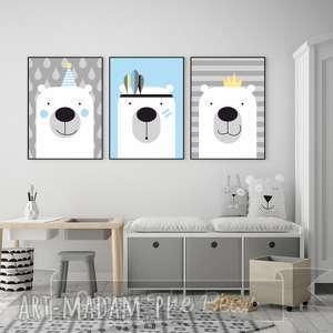 zestaw plakatów dla dzieci trzy urocze misie a3, misie, miś, niebieski, plakaty