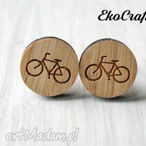 Drewniane spinki do mankietów rower męska ekocraft spinki