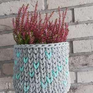 doniczka otulinka koszyk na kwiaty szydelku, doniczka, kwiaty