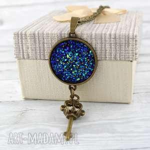 wisior druzy niebieski - medalion, wisior, druzy, kluczyk, długi, boho