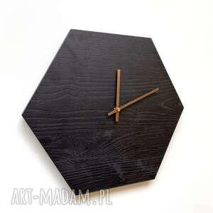 ovo design zegar na ścianę palone drewno, drewno palone