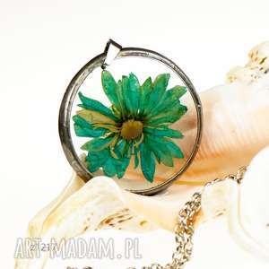 z1217 naszyjnik z suszonym kwiatem, kwiatów, biżuteria żywicy