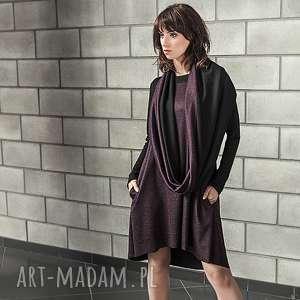 sukienki sukienka z szalem ciemna śliwka, prezent, komin, bordo, koło