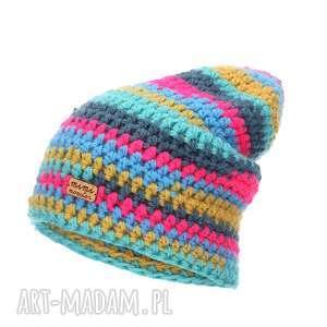 czapka hand made no 047 beanie szydło - czapka krasnal, czapka z włóczki