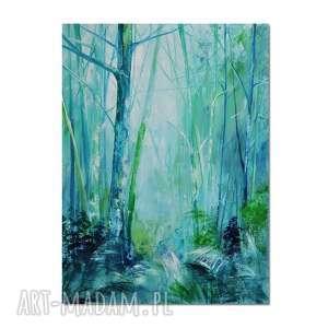 forest blues /2/, las, obraz ręcznie malowany, obraz, ręcznie, pejzaż