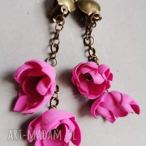 klipsy kwiatowe orientalne leciutkie handmade polecam box x1