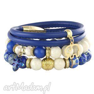 lavoga lapis blue & ivory - rzemień słonik, swarovski, jadeit