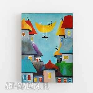 bajkowe miasteczko kotów-obraz akrylowy formatu 40/50 cm, miasteczko, domki