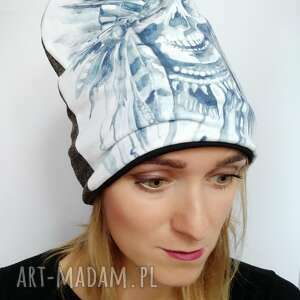 Katarzyna Staryk: czapka czaszka indiańska, indianie, dziki zachód, indianin, akwarela pióropusz