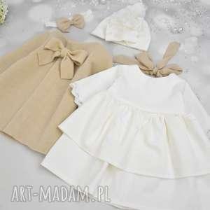 Komplet do chrztu sukienka plaszczyk turban z koronka noeli