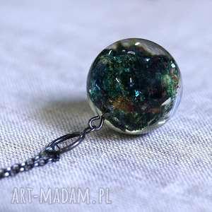 naszyjnik z minerałem, zielony no 2 - żywica, srebro, minerał, natura