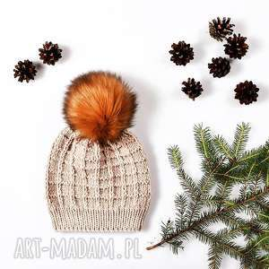 czapka kostka merynos damska, zimowa, wełniana, ciepła, dopasowana