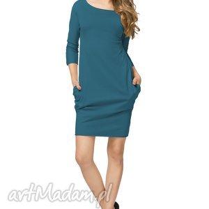 Sportowa sukienka z kieszeniami T181, morski, sukienka, sportowa, bawełniana