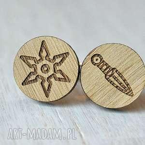 Dębowe spinki do mankietów SHURIKEN KUNAI NINJA , drewniane, spinki, ninja, naruto