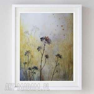 jesienna łąka - akwarela formatu 24/32 cm, łąka, trawy, papier, jesień