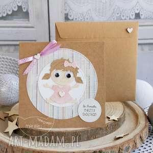 scrapbooking kartki personalizowana kartka dla dziewczynki - narodziny, chrzest
