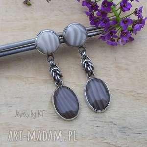 Dwa odcienie krzemienia - kolczyki jewelsbykt srebro, sztyfty