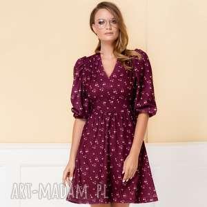 sukienka sofi w drobne kwiaty, bordowa sukienka, czerwona