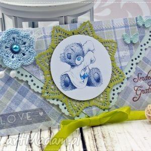 kartka z okazji narodzin- wiosenny miś - narodziny, miś, dlachłopca, kartka