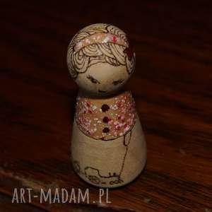 lalki laleczka calineczka - ręcznie wypalana kokeshi, retro, wypalanie, kokeshi