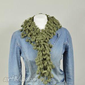pom-pon scarf - khaki, zielony, pompon, oryginalny, szalik, owijak, fantazyjny