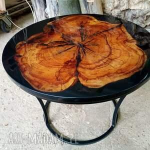 okrągły stolik kawowy z żywicą 2, platan, żywica, stolik, połysk, drewno, lakier